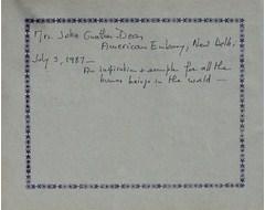 Mrs. John Gunthan Dean - American Embassy, New Delhi